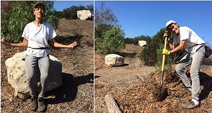 "Urban Forest Volunteer Cheryl and what has affectionately been dubbed ""Vortex Rock."""