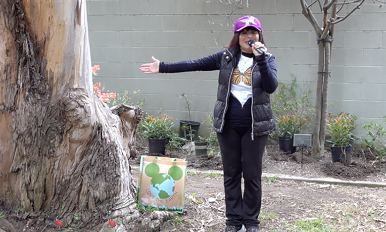 Recording artist and philanthropist Laura Angelini with the Share Our Love organization came out to Gibbs Butterfly Park on Earth Day in April to plant milkweed, the favorite habitat of the Monarch Butterfly.